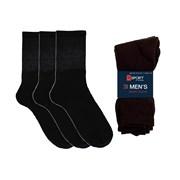 Mens 3 Pack Plain Black Sport Socks (SK103)